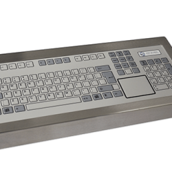 128P Key Industrial Keyboard with Touchpad Cased Front