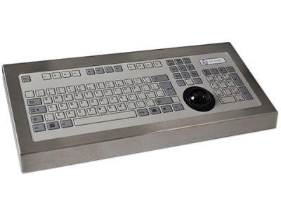 128T Key Industrial Keyboard with Trackerball Cased Front
