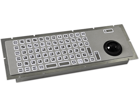 72T Key Industrial Keyboard with Trackerball Flush Mount Front