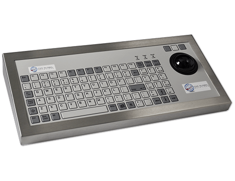 96T Key Industrial Keyboard with Trackerball Cased Front